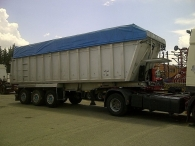 Aluminium tipper trailer, capacity 40m3, air suspension, drum brakes, year 2001, with cover.