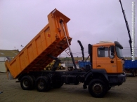 Dumper MAN 33.364, 6x4, manual, año 2001, caja Meiller Kipper.