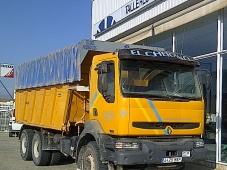 Dumper Renault 420.34, 6x4, año de fabricación 2002, 291.000km, manual, Euro 3.  Equipamiento: Aire acondicionado, Elevalunas eléctricos, ventana en el techo.