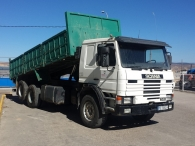 Tipper truck Scania 113 HL, 6x2, with box of 6.3x2.5m, year 1989.